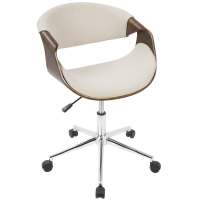 Curvo Mid-Century Modern Office Chair in Walnut Wood and ...