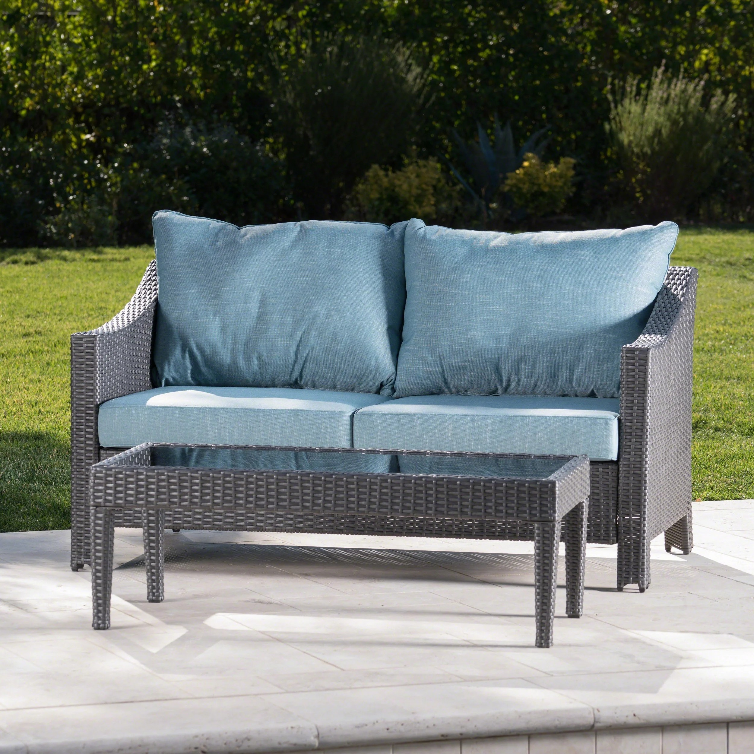 Outdoor Couch Antibes Outdoor 2 Piece Wicker Sofa Set With Cushions By Christopher Knight Home