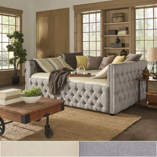 Knightsbridge Queen-size Tufted Nailhead Chesterfield Daybed and