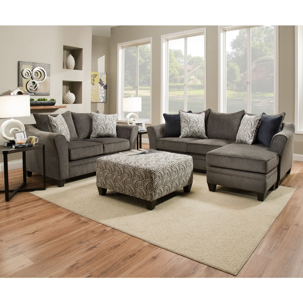 Small Sofas Under $500 Shop Simmons Upholstery Albany Pewter Sofa Chaise - Free