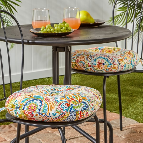 15 Inch Round Outdoor Bistro Chair Cushion Set Of 2 In