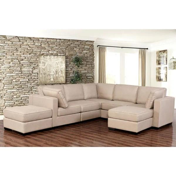 Abbyson Harper Fabric Modular 7-piece Sectional - Free Shipping - 7 piece living room set