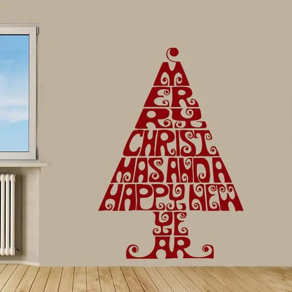 Merry Christmas Words Christmas Tree Home Decor Vinyl Art Wall Decor - christmas tree words