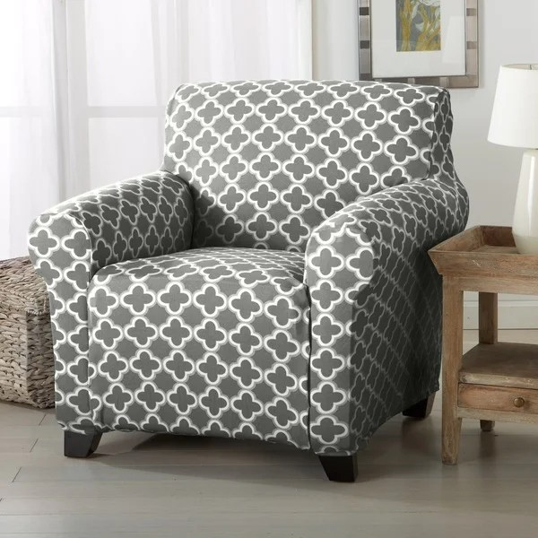 Sofa Slipcover Patterns Free Brenna Collection Trellis Print Stretch Form-fitted Chair