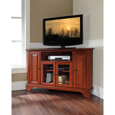 Shop Lafayette Classic Cherry Finish 48-inch Corner TV Stand - Free Shipping Today - Overstock ...