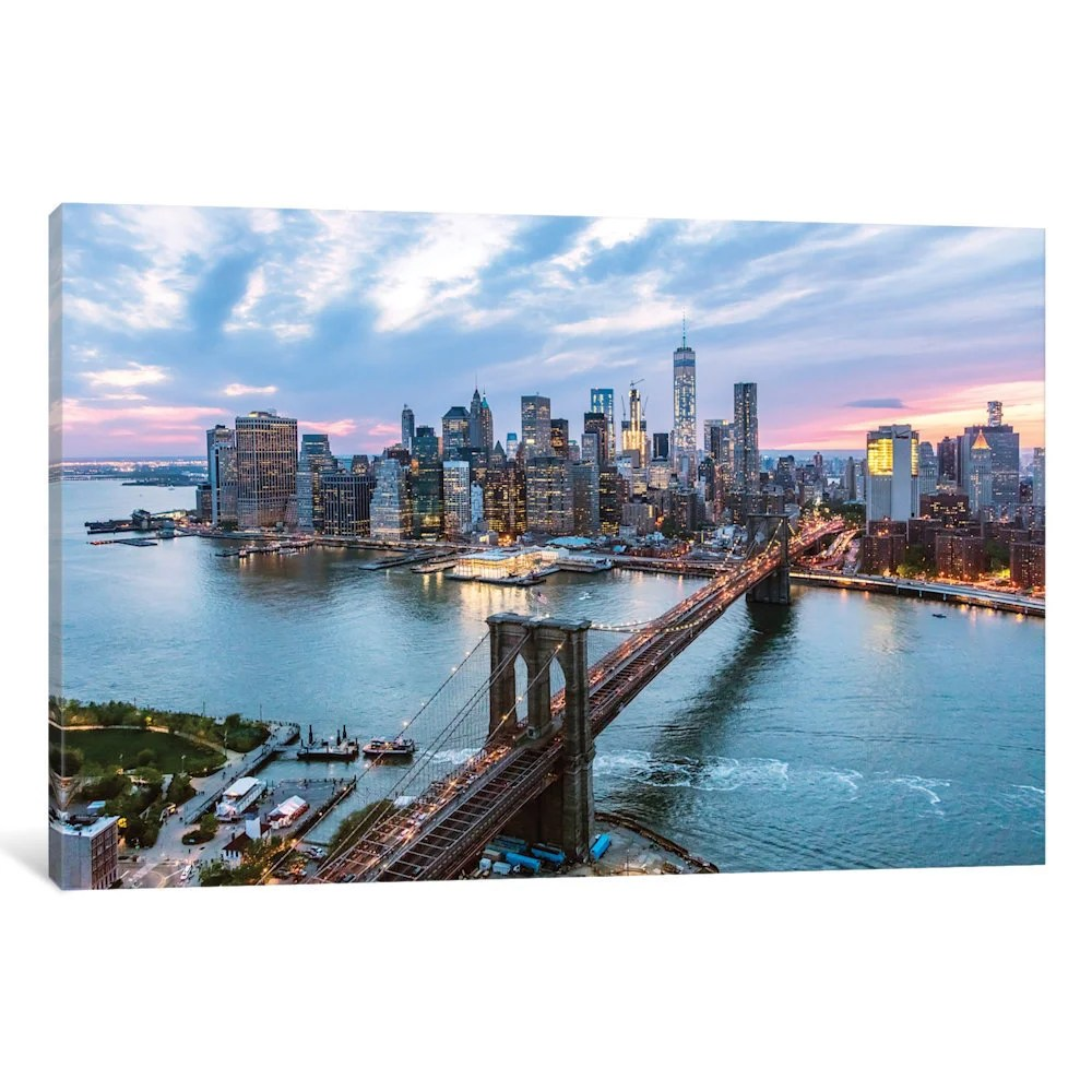 Glasbild Beleuchtet Antiquitäten & Kunst Usa New York Manhattan Skyline Brooklyn Bridge Canvas Modern Art ~ 5 Sizes Cotrans.re