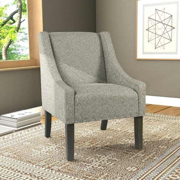 Shop Homepop Modern Swoop Accent Chair With Nailhead Trim - Designer Accent Chairs On Sale