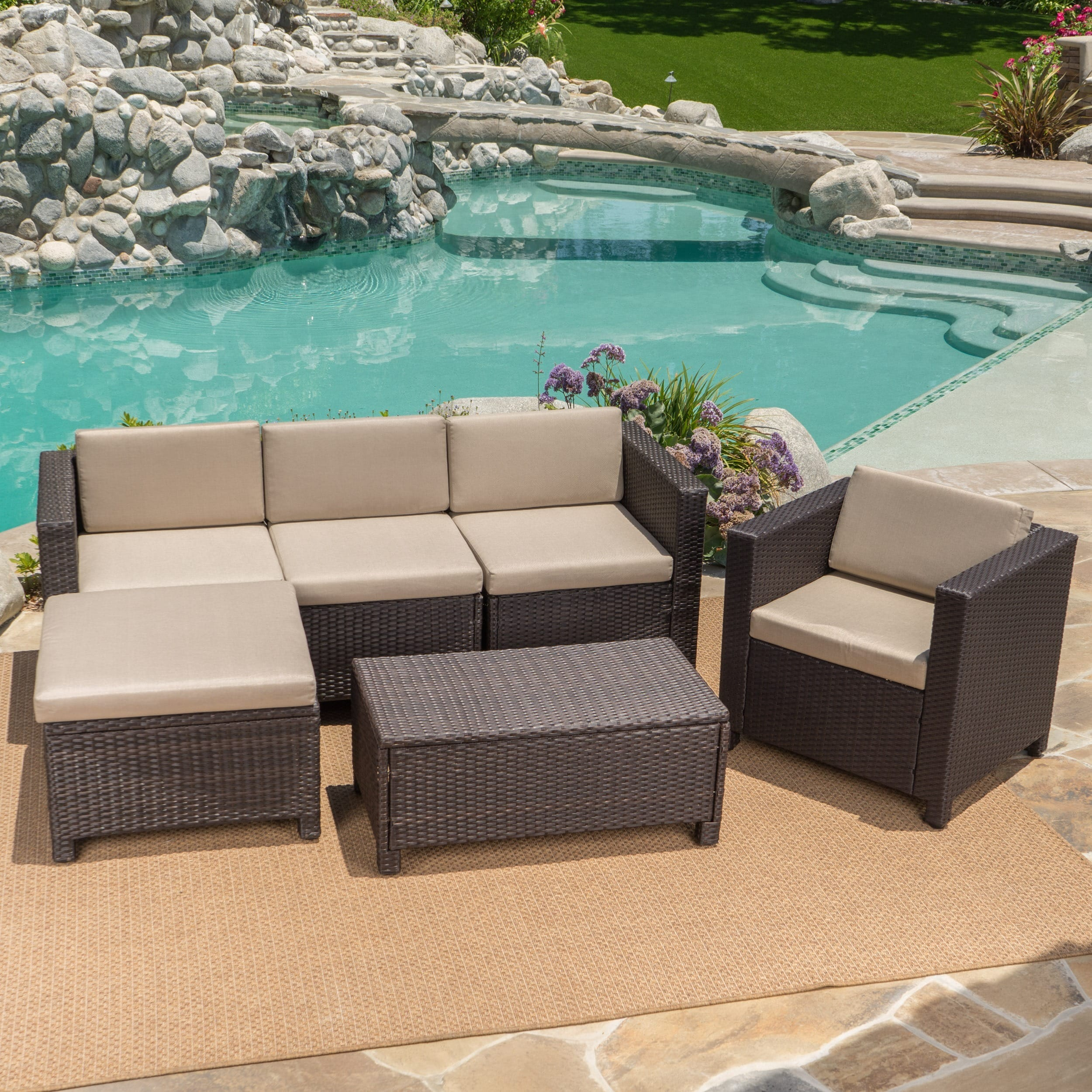 Cheap L Shaped Rattan Sofa Details About Puerta Outdoor 6 Piece Wicker L Shaped Sectional Sofa Set With Cushions By