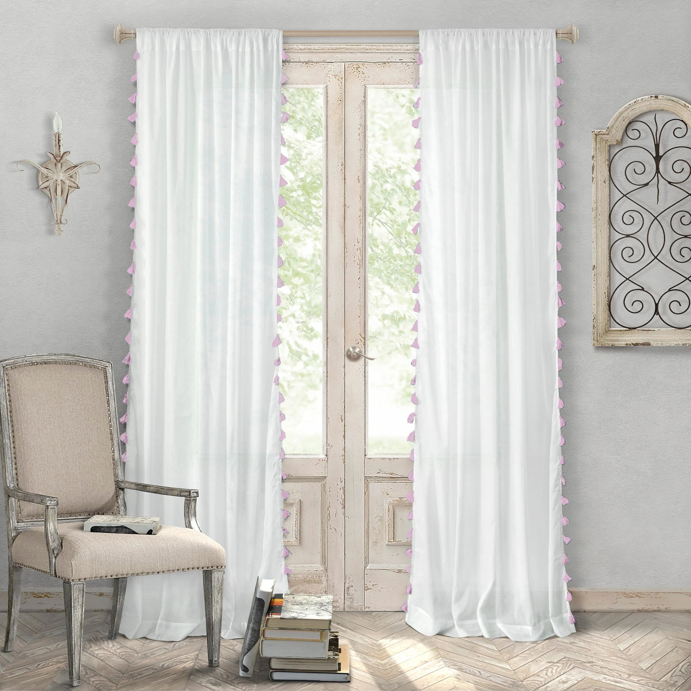 Cotton Curtain Panels Details About Elrene Bianca Tassel Cotton Curtain Panel