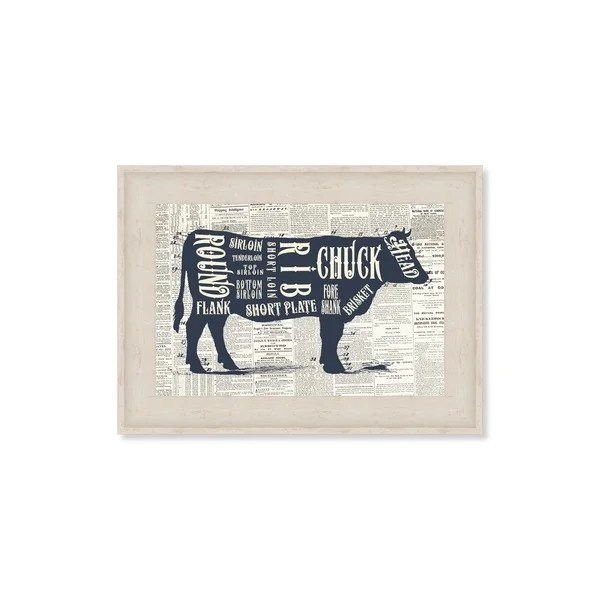 Shop Oliver Gal \u0027Angus Beef Butcher Cuts Chart\u0027 Framed Art - Free