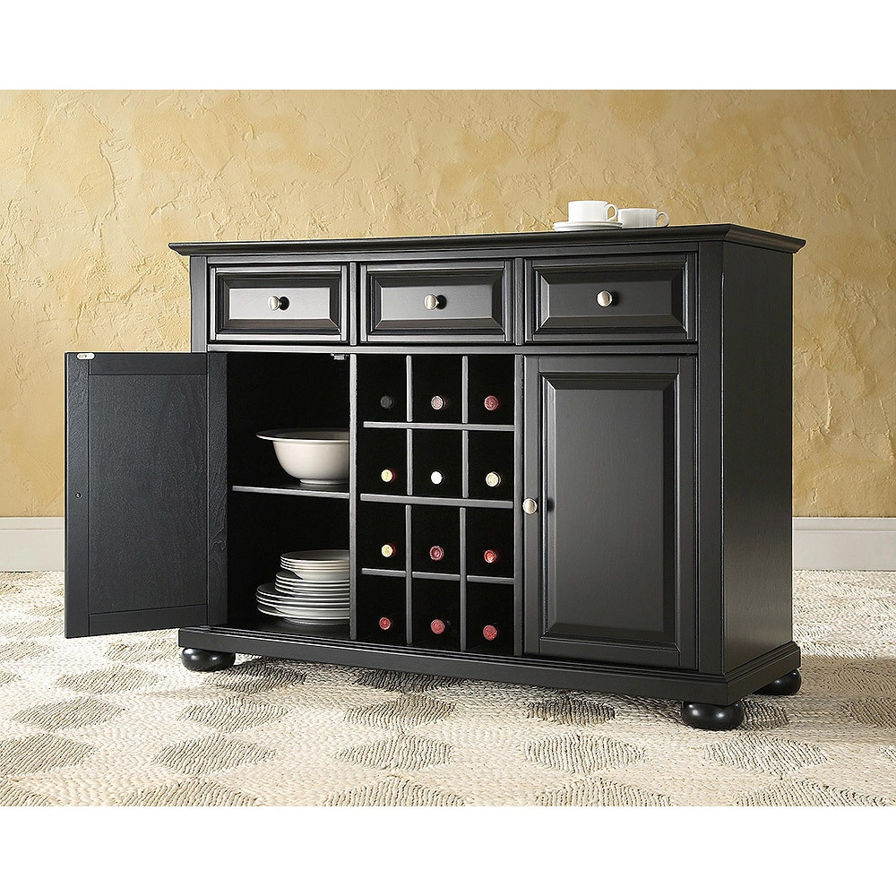 Buffet Sideboard With Wine Rack Alexandria Buffet Server Sideboard Cabinet With Wine Storage In Black Finish