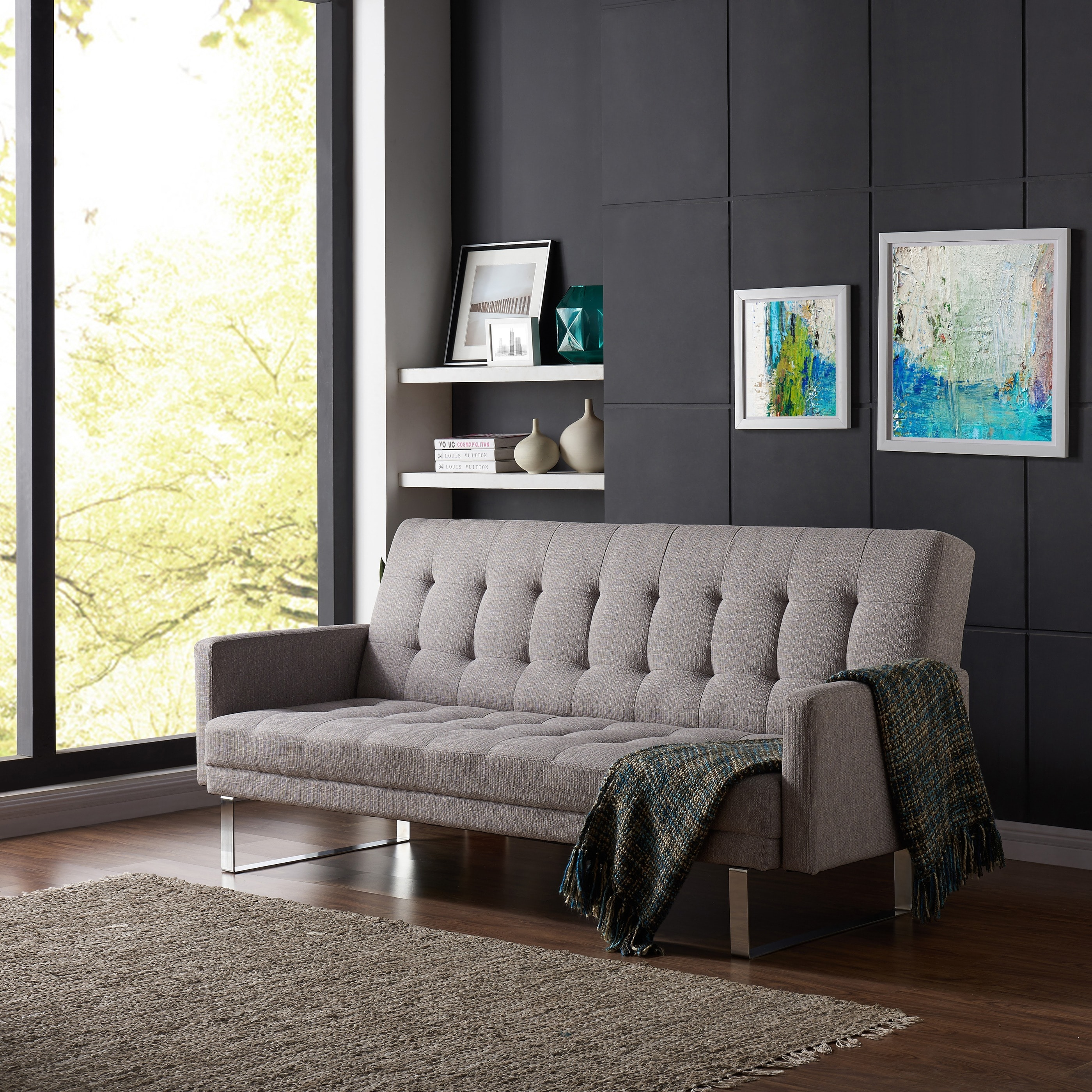 Ebay Sofa Grey Details About Handy Living Springfield Dove Grey Linen Click Clack Futon Sofa Bed