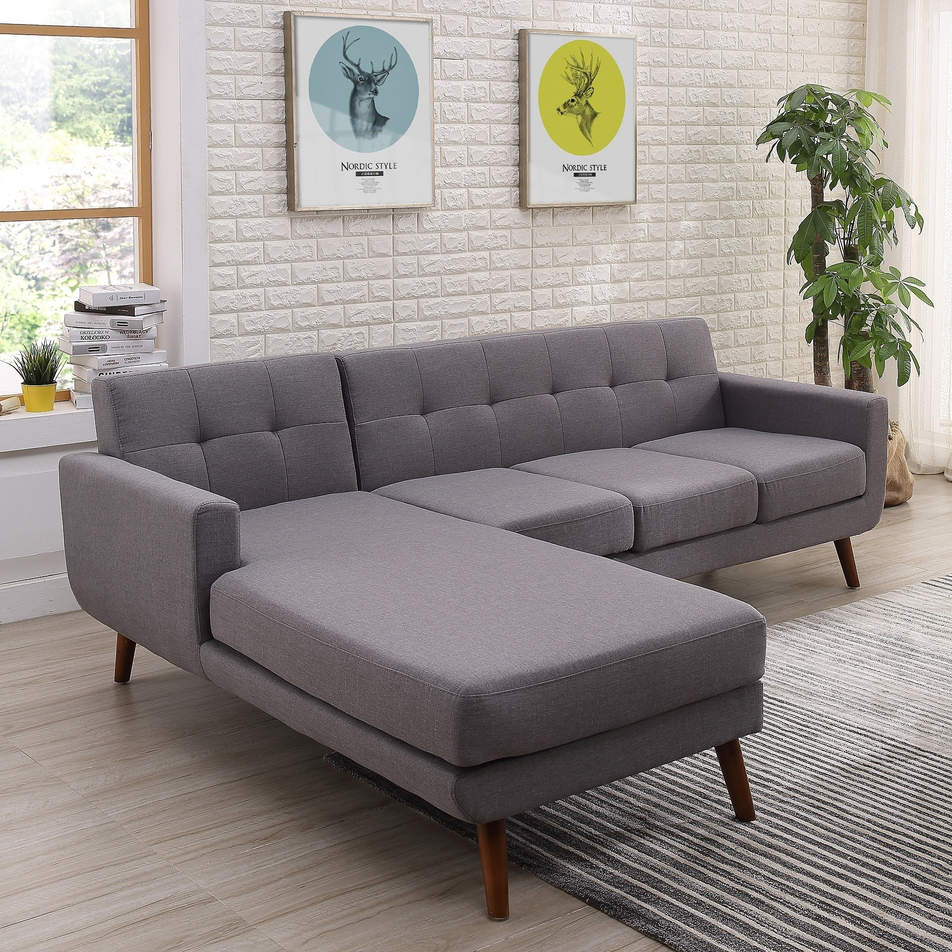 Fabric Sectional Sofas Canada Shop Mid Century Left Facing Tufted Linen Fabric Upholstered