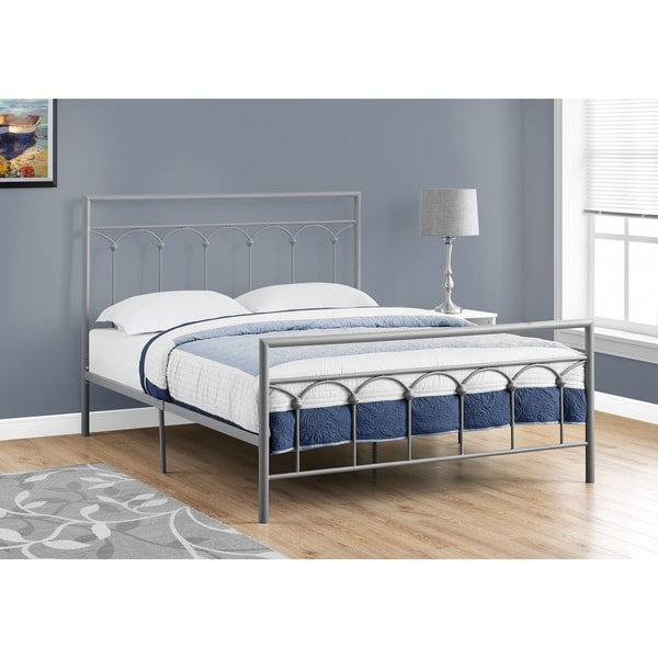 Shop Bed Queen Size Silver Metal Frame Free Shipping