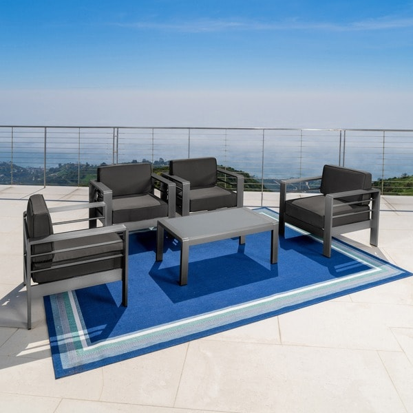 shop cape coral outdoor 5 piece seating set with cushions by christopher knight home