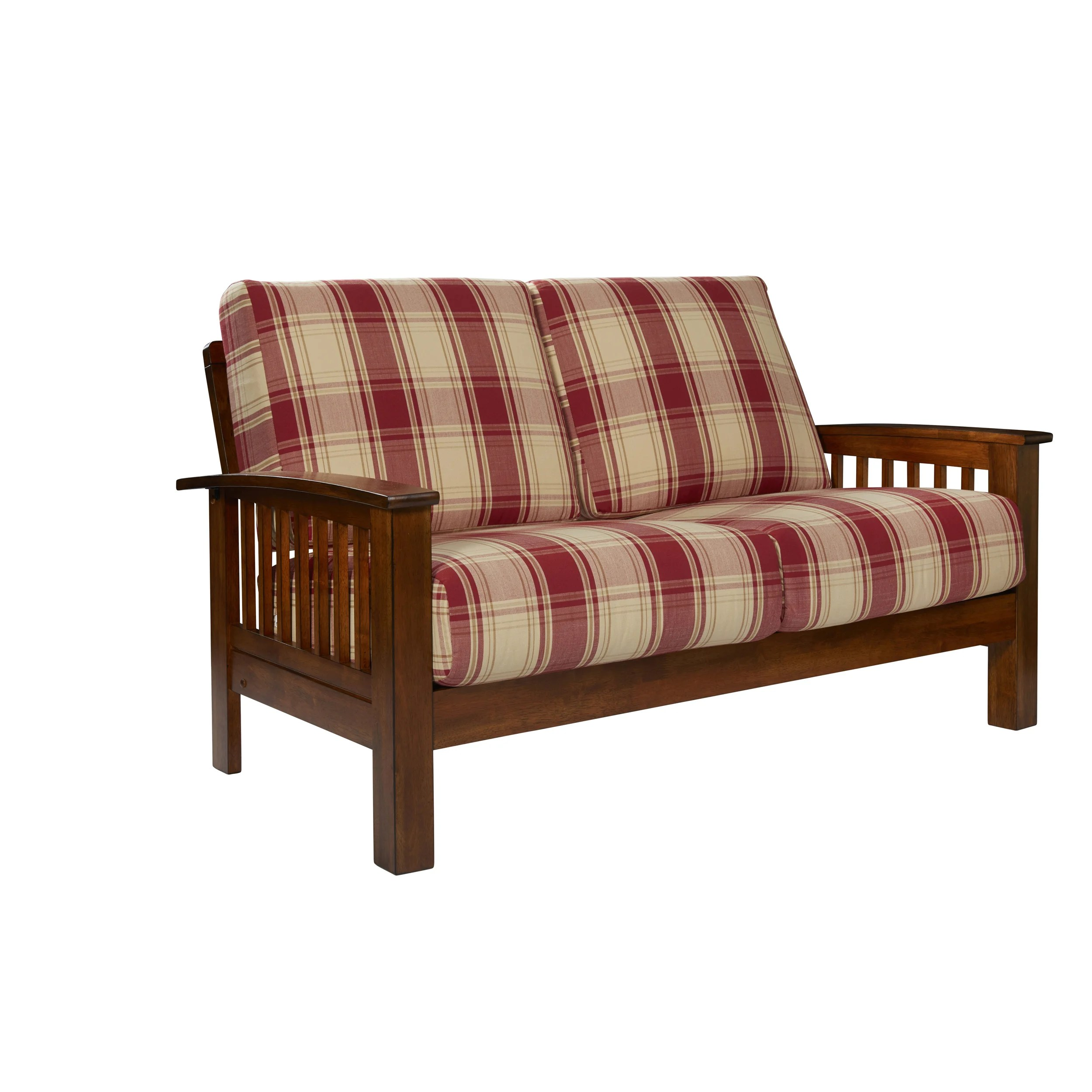 The Gray Barn Mercy Red Plaid Mission Style Loveseat With Exposed Wood Frame On Sale Overstock 23123038