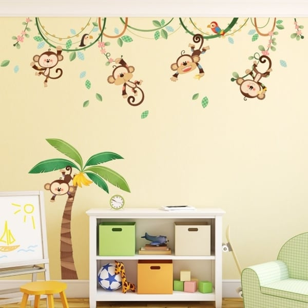 Shop Monkeys On Vine Peel And Stick Nursery Kids Wall - Kinderzimmer Dschungel