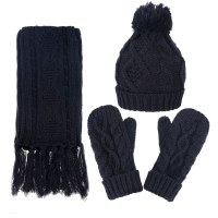 Andorra Women's Cable Knit Winter Hat, Scarf, & Gloves Set ...