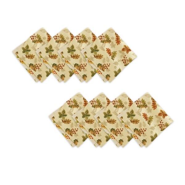 Swaying Leaves Harvest Double Border Set of 8 Print Fabric Napkins