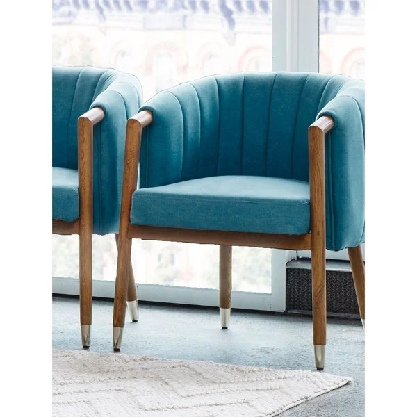 Shop Aurelle Home Sky Blue Mid Century Modern Contemporary - Designer Accent Chairs On Sale