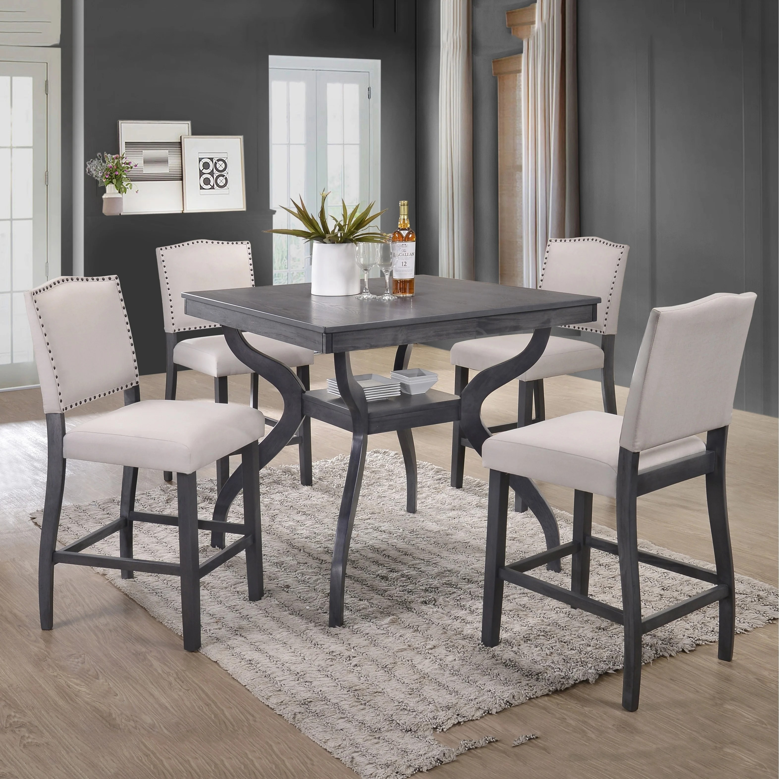 Best Quality Furniture Light Grey 5 Piece Counter Height Dining Set On Sale Overstock 18616133