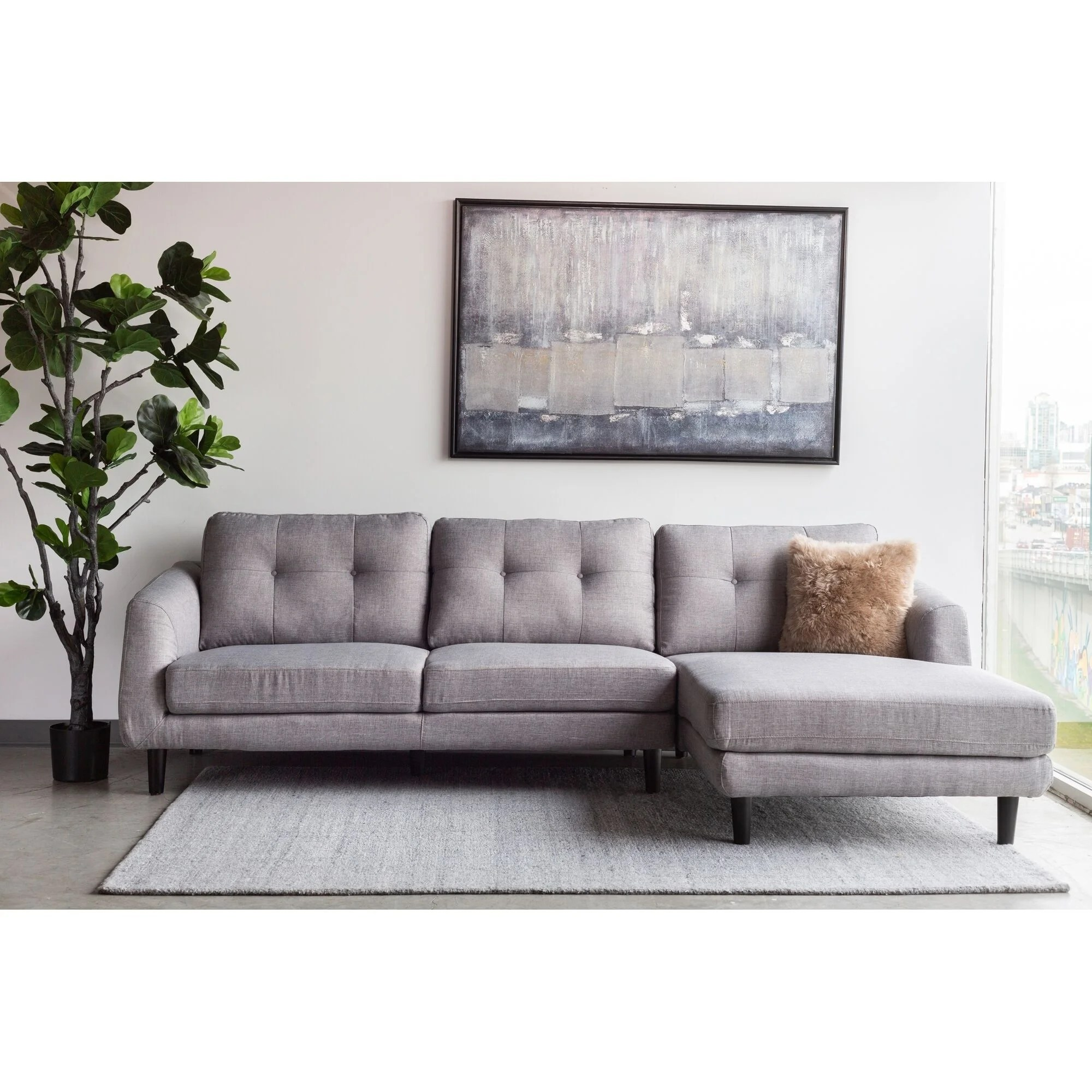 Aurelle Home Ragnar Mid Century Modern Sectional Sofa On Sale Overstock 18706935 Right Facing