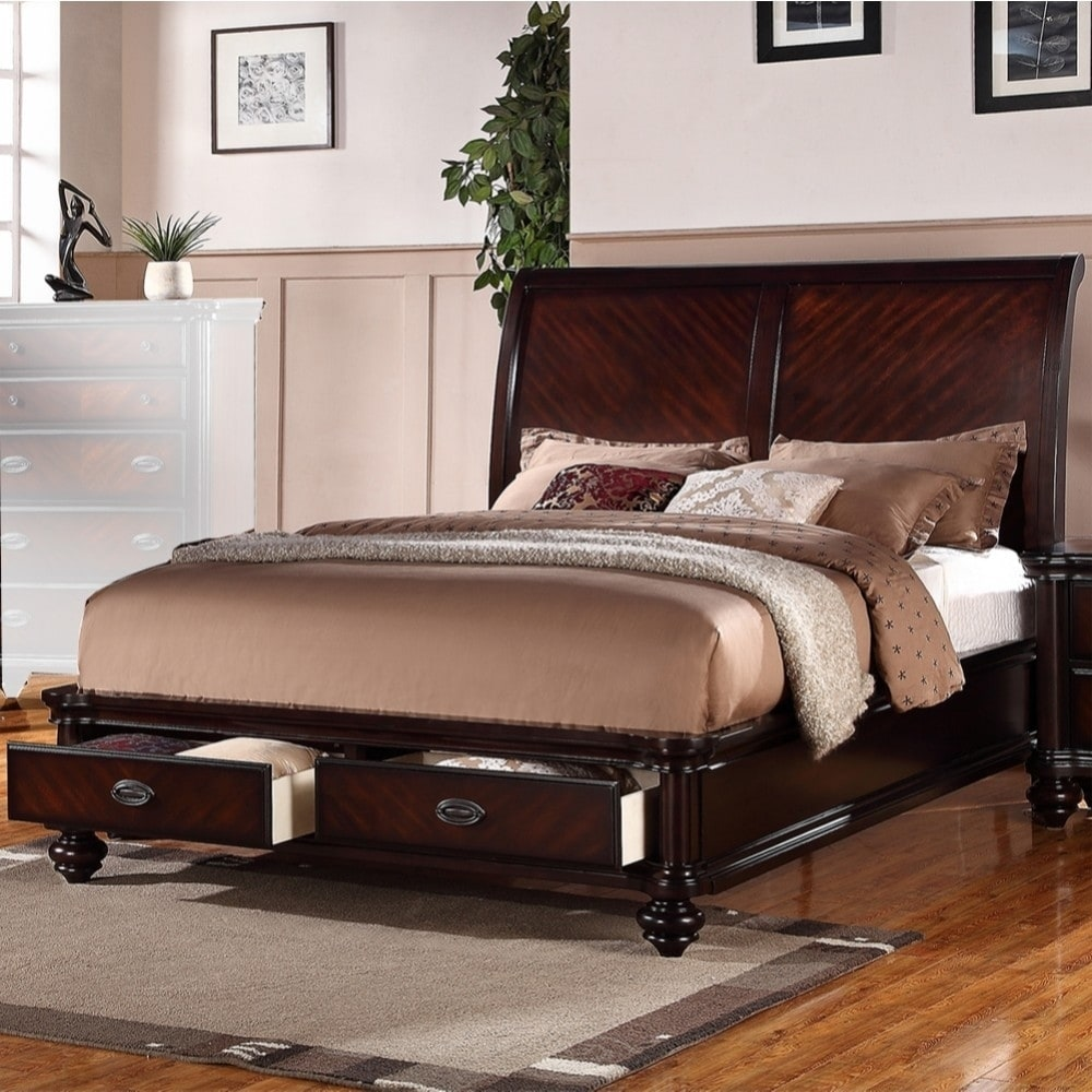 Immaculate Wooden Cal King Bed With 2 Under Bed Drawers Smooth Cherry Finish On Sale Overstock 20649464