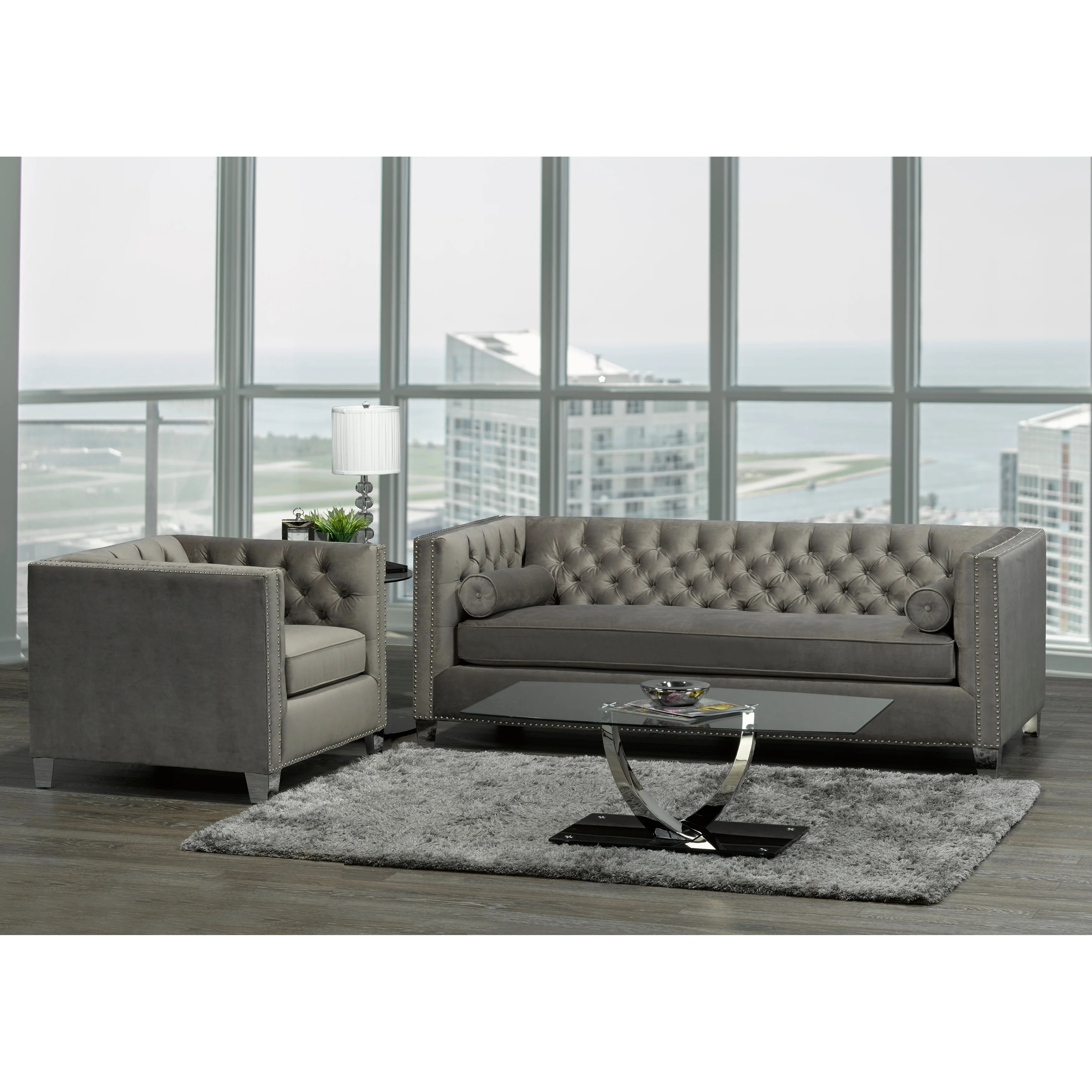Hank Modern Grey Velvet Tufted Nailhead Sofa And Chair Natural On Sale Overstock 20847542