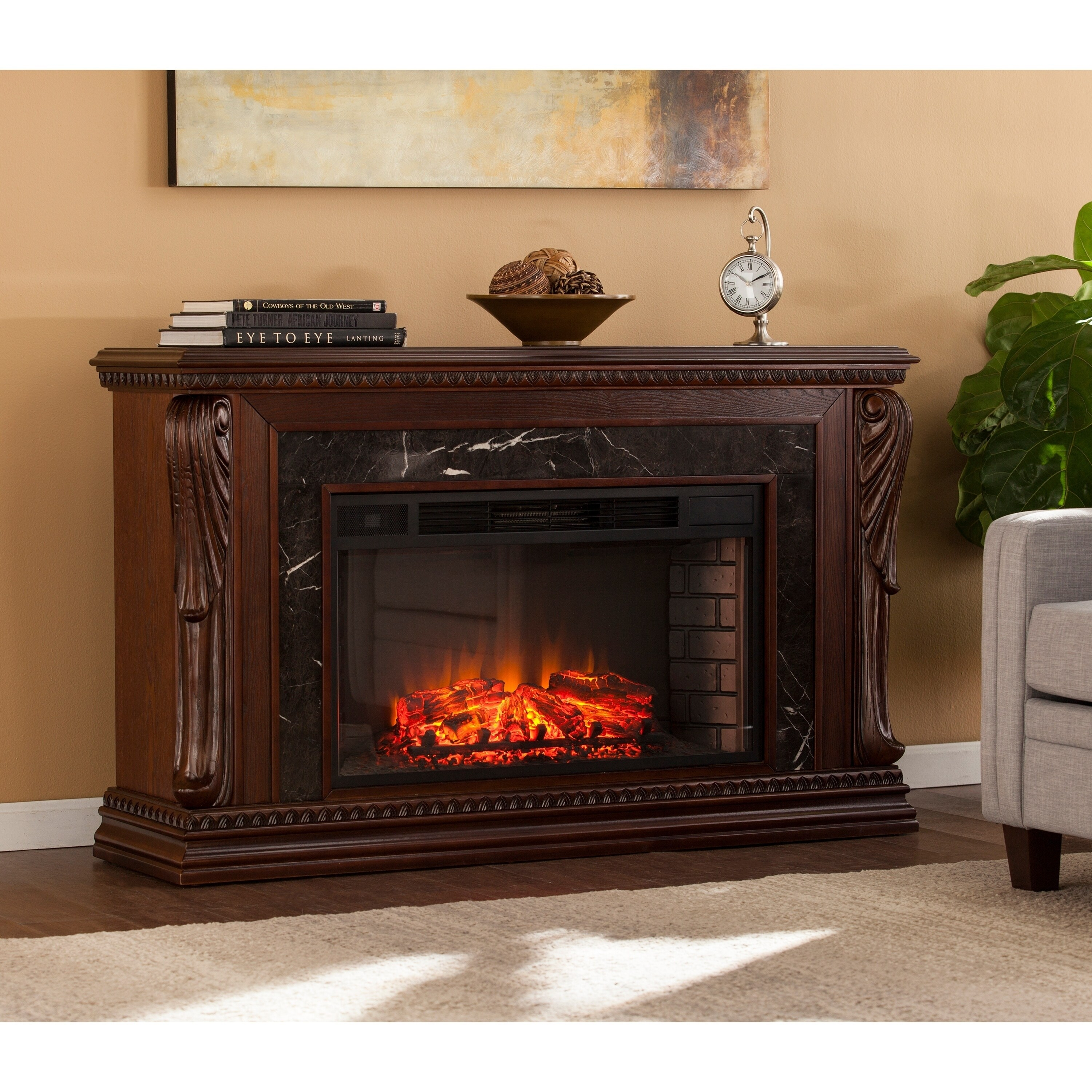 Stone Electric Fireplace Tv Stand Buy Fireplaces Online At Overstock Our Best Decorative
