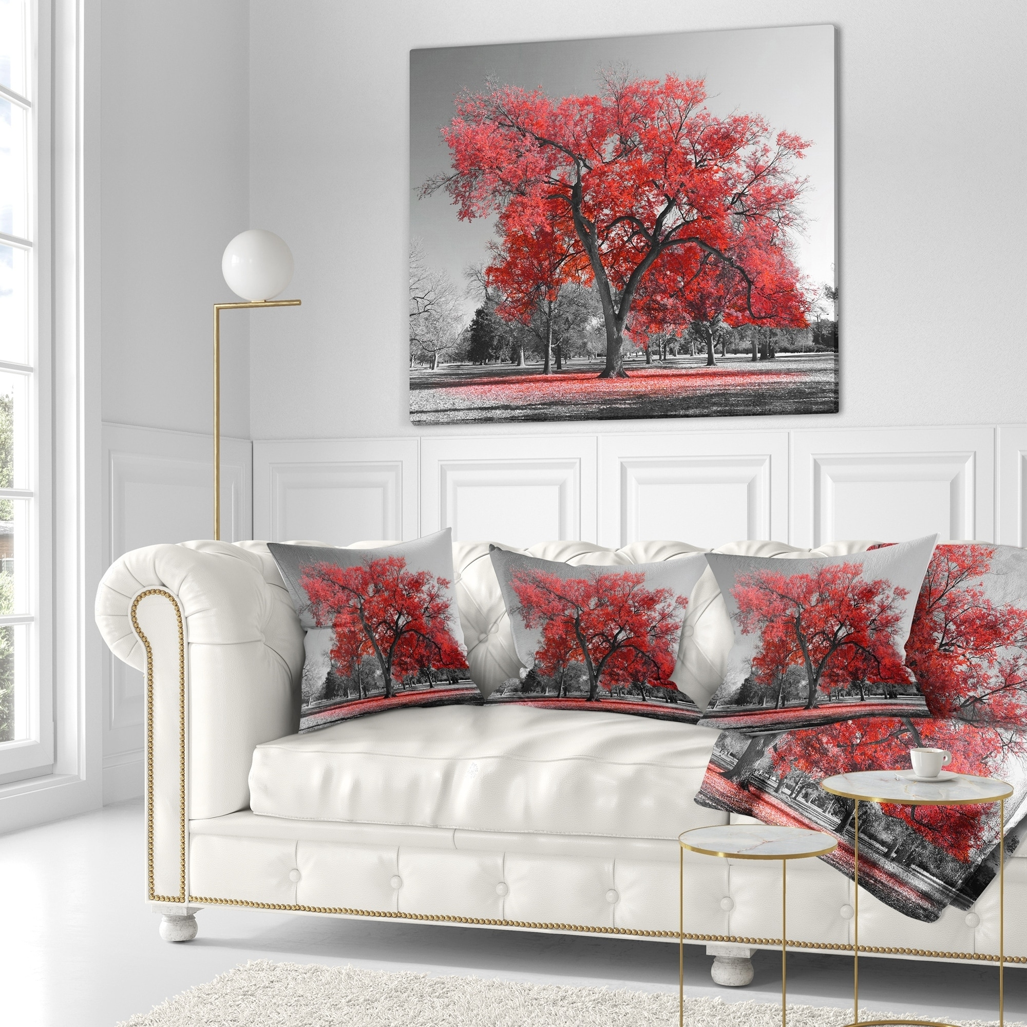 Big Couch Throw Designart Big Red Tree On Foggy Day Landscape Printed Throw Pillow