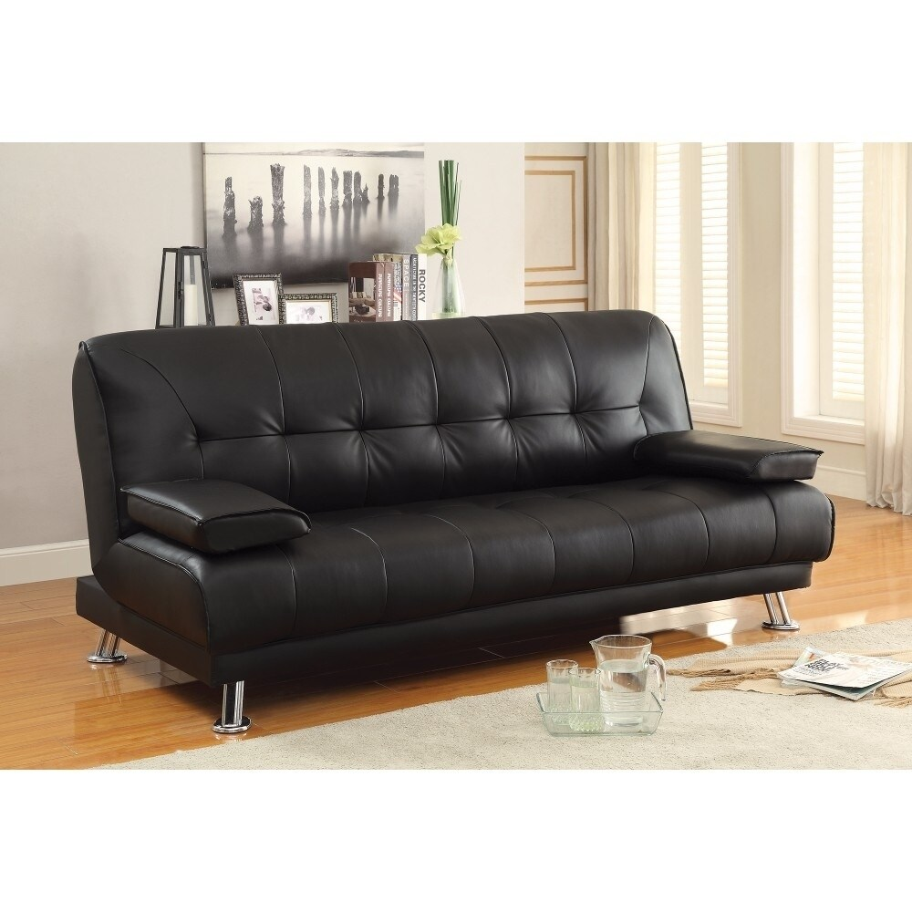 Benzarafaux Leather Convertible Sofa Bed With Removable Armrests Black Dailymail