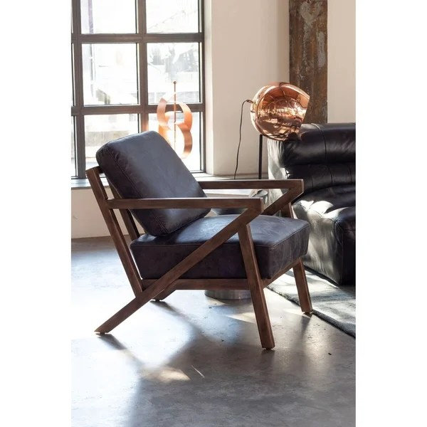 Shop Aurelle Home Mid Century Modern Leather Accent Chair - Designer Accent Chairs On Sale