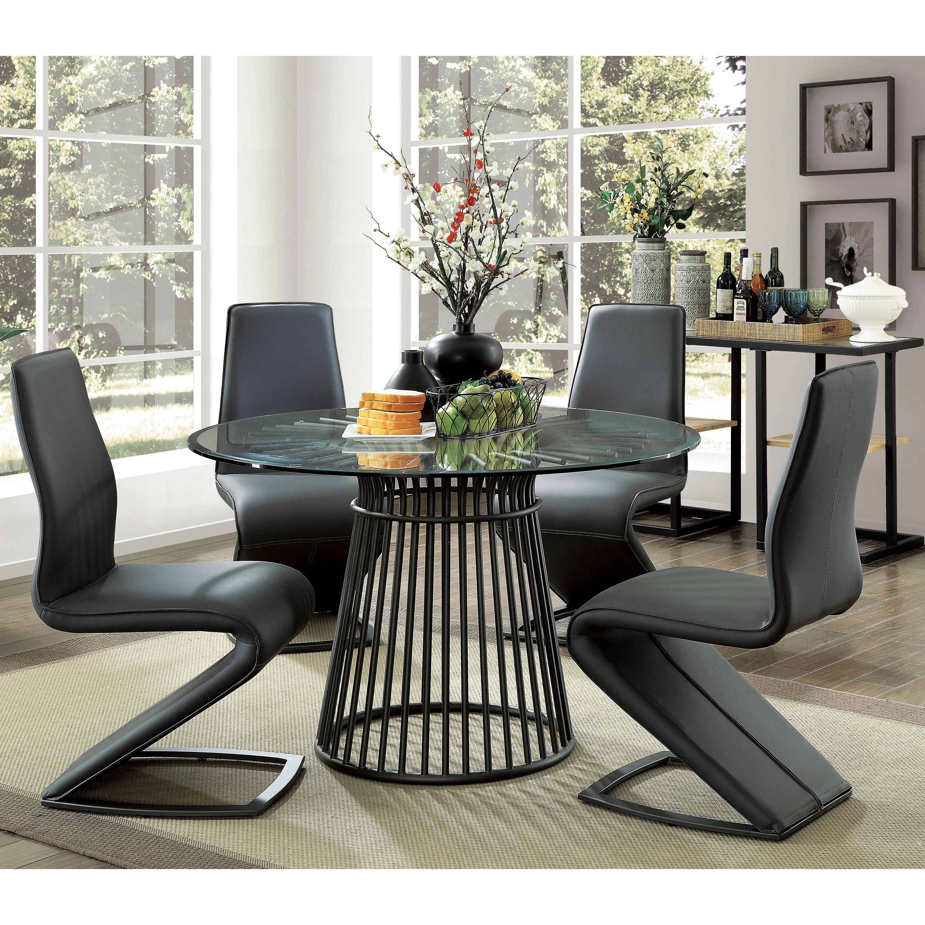 Round Glass Top Dining Table Details About Furniture Of America Byron Modern Round 48 Inch Glass Top Dining Table Black