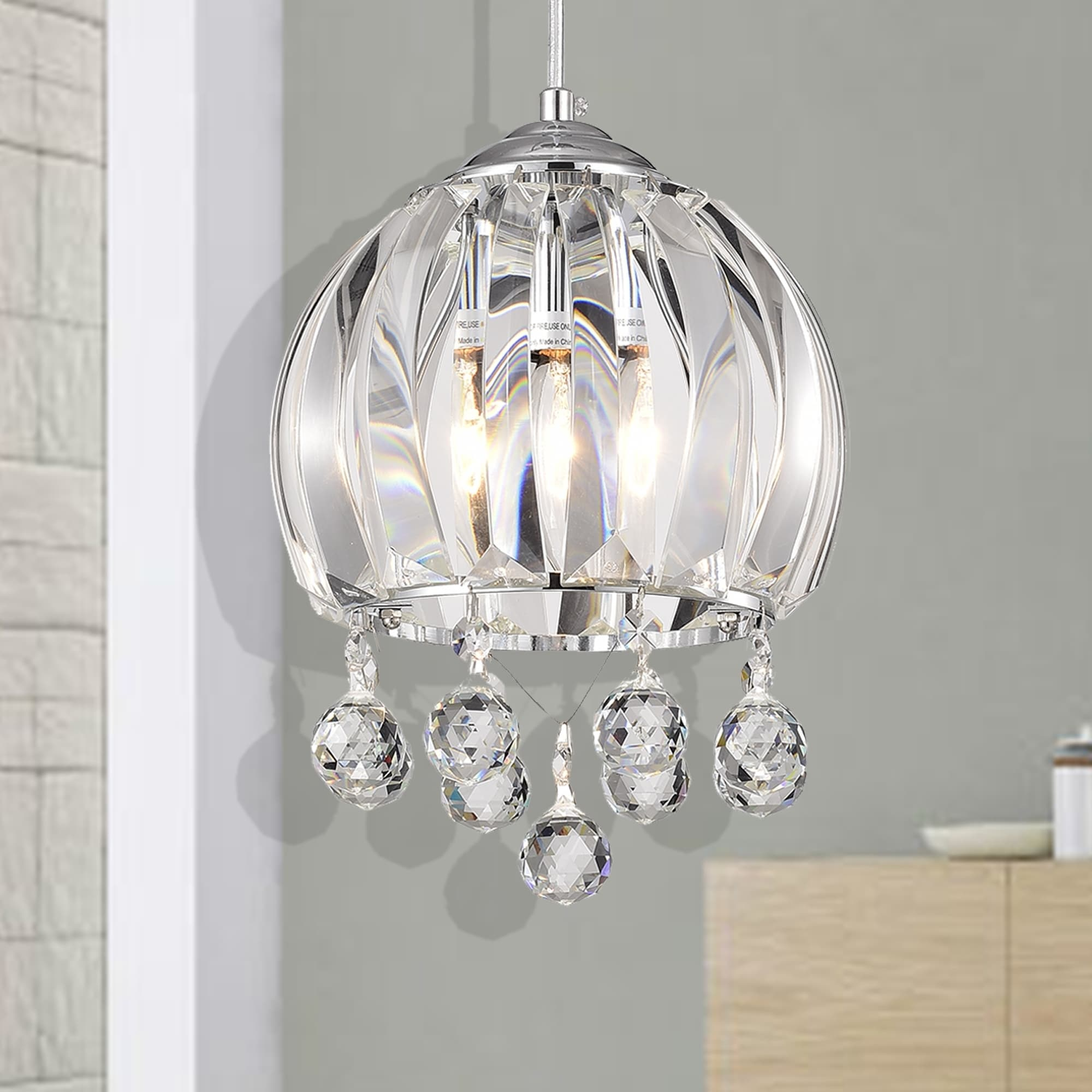Glass Lamp Bowl Deanna Chrome 1 Light Bowl Pendant