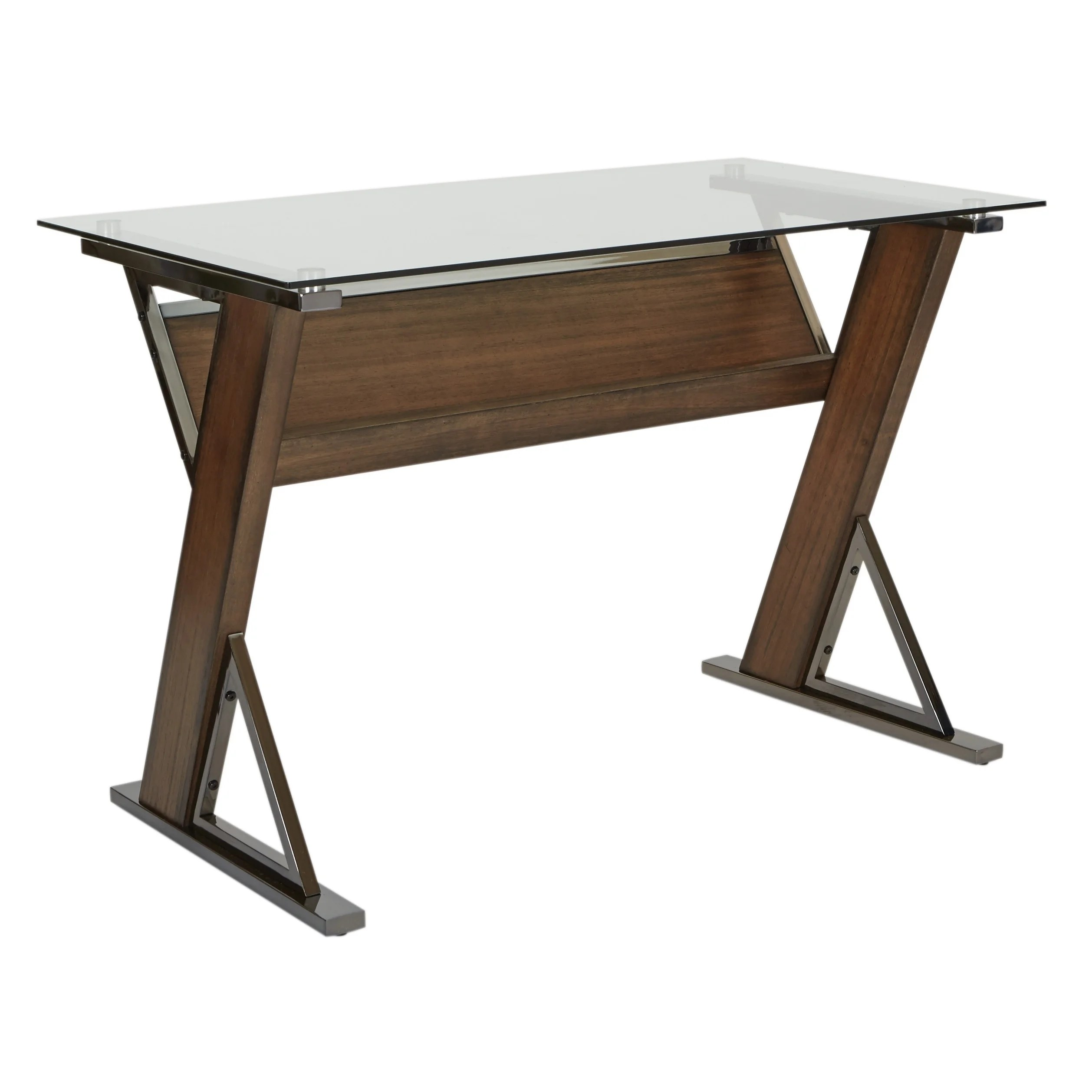 Long Wood Desk Details About Osp Home Furnishings Eureka Long Desk With Tempered Glass Top And Caramel Wood