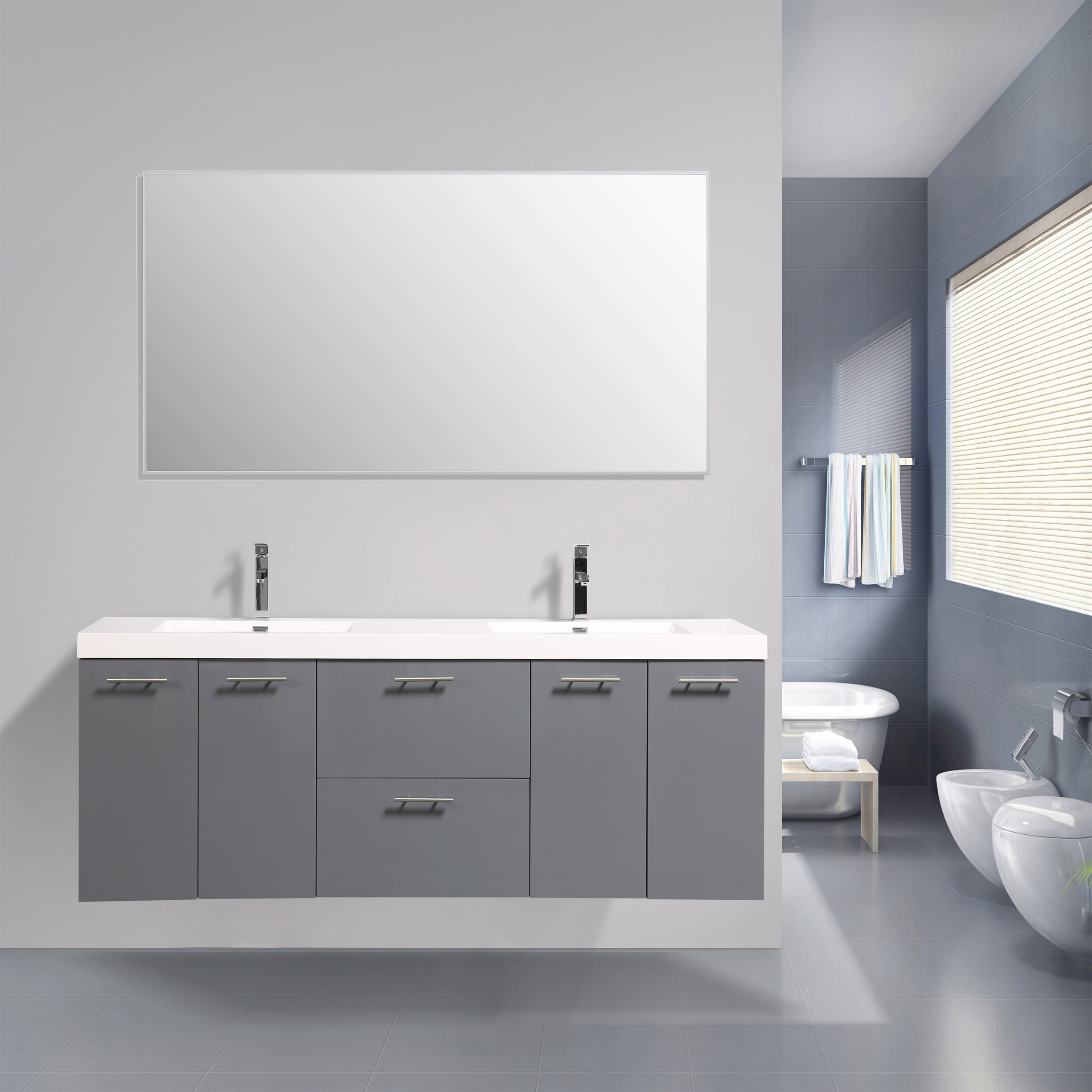 Shop Black Friday Deals On Eviva Luxury 84 Inch Gray Bathroom Vanity Overstock 21738823