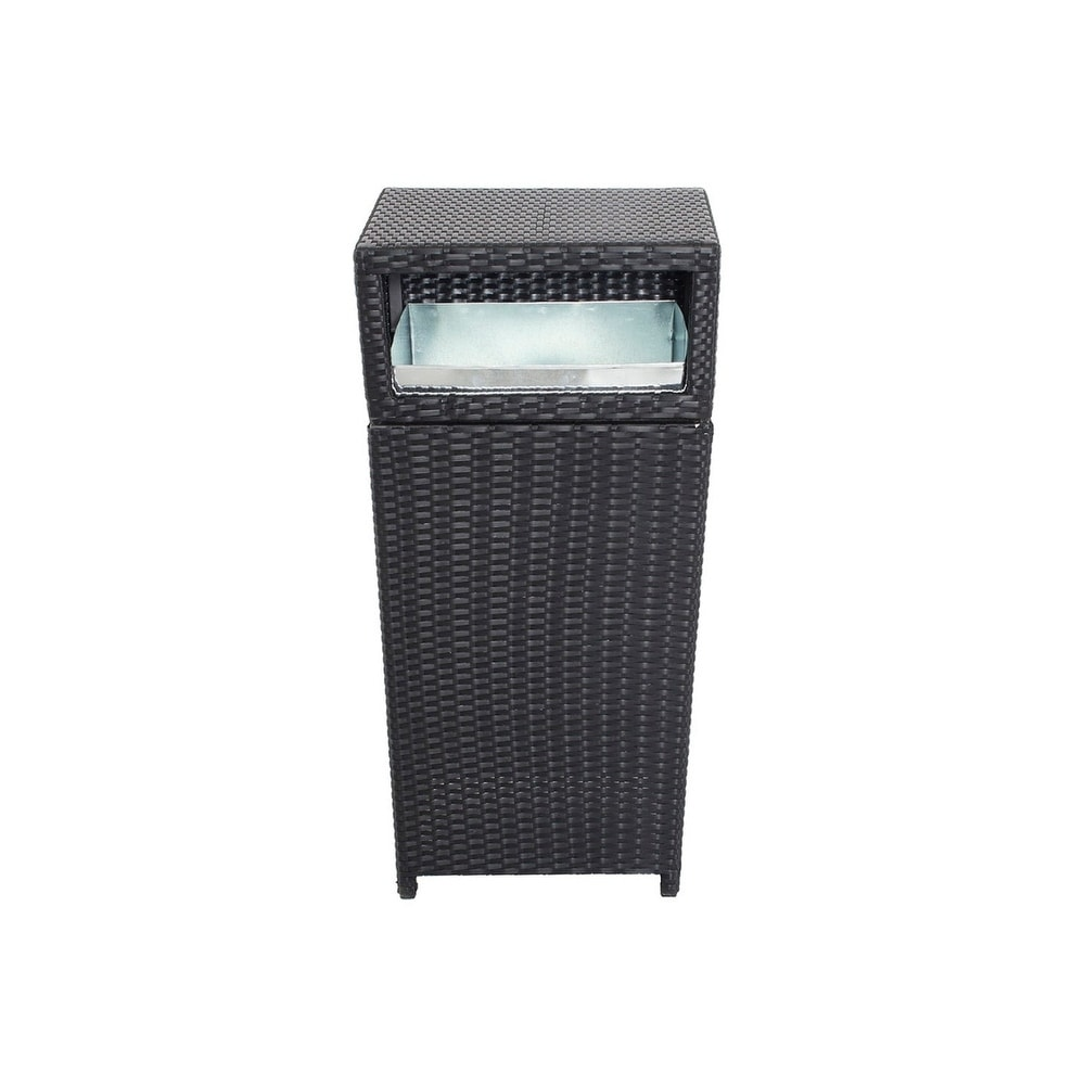 Polyrattan Java-exclusiv Rattan And Aluminum Outdoor Trash Can Black