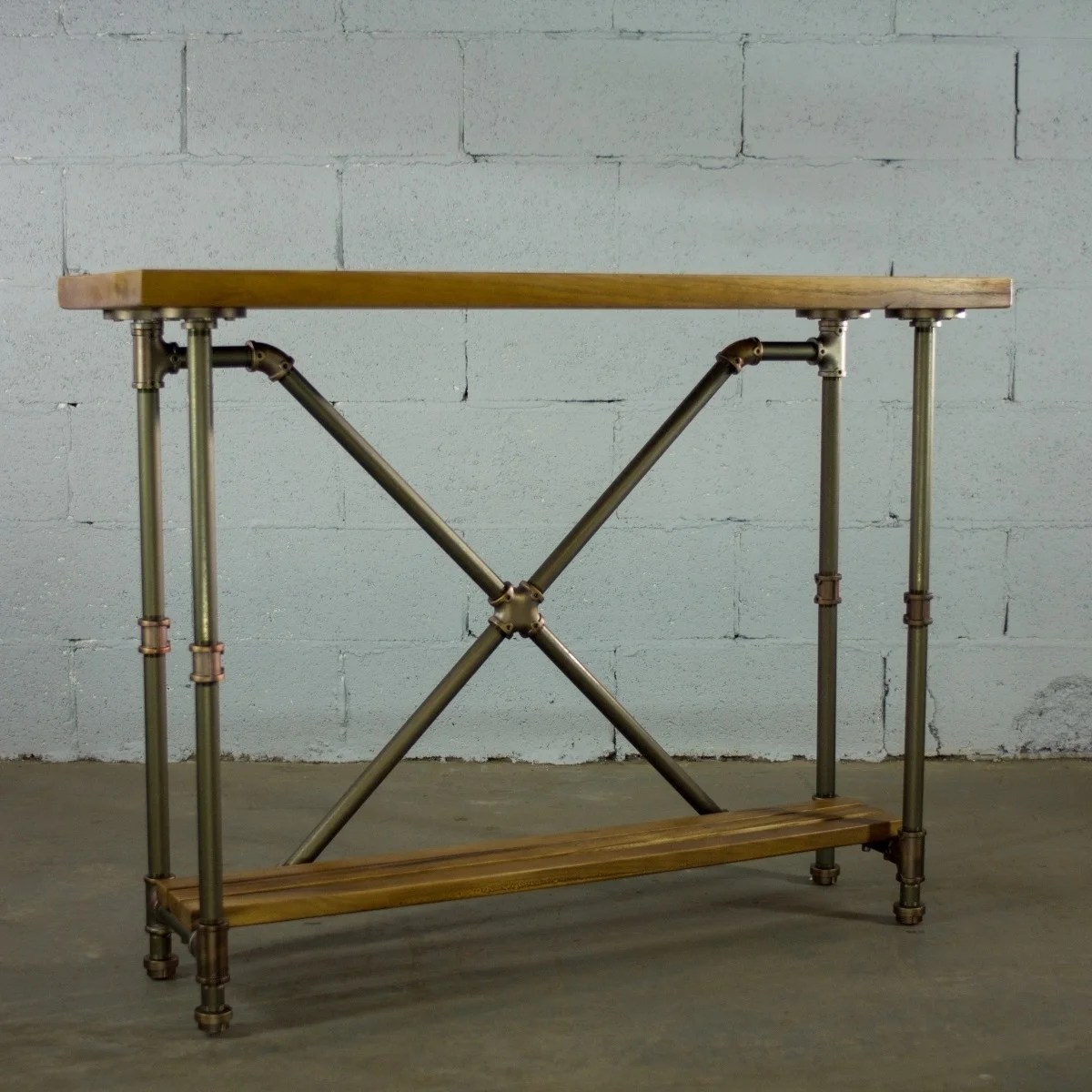 Vintage Hall Table Os Home And Office Model Pstx Rb Industrial Vintage 2 Tier Pipe Console Sofa Hall Table Etagere