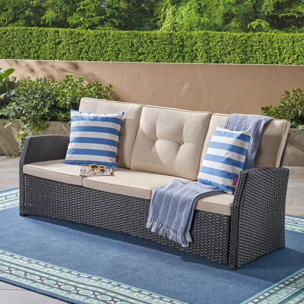 Small Sofas Under $500 Shop Sanger Outdoor 3 Seater Wicker Sofa By Christopher