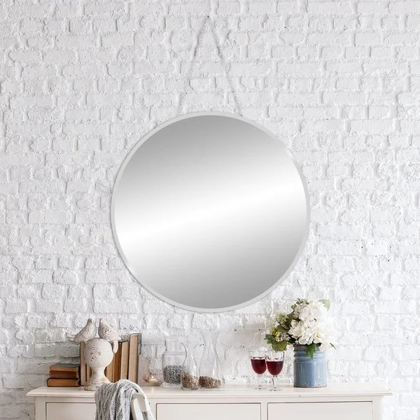 Beveled Mirror With Chain Shop 28 Inch Frameless Beveled Wall Mirror With Hanging