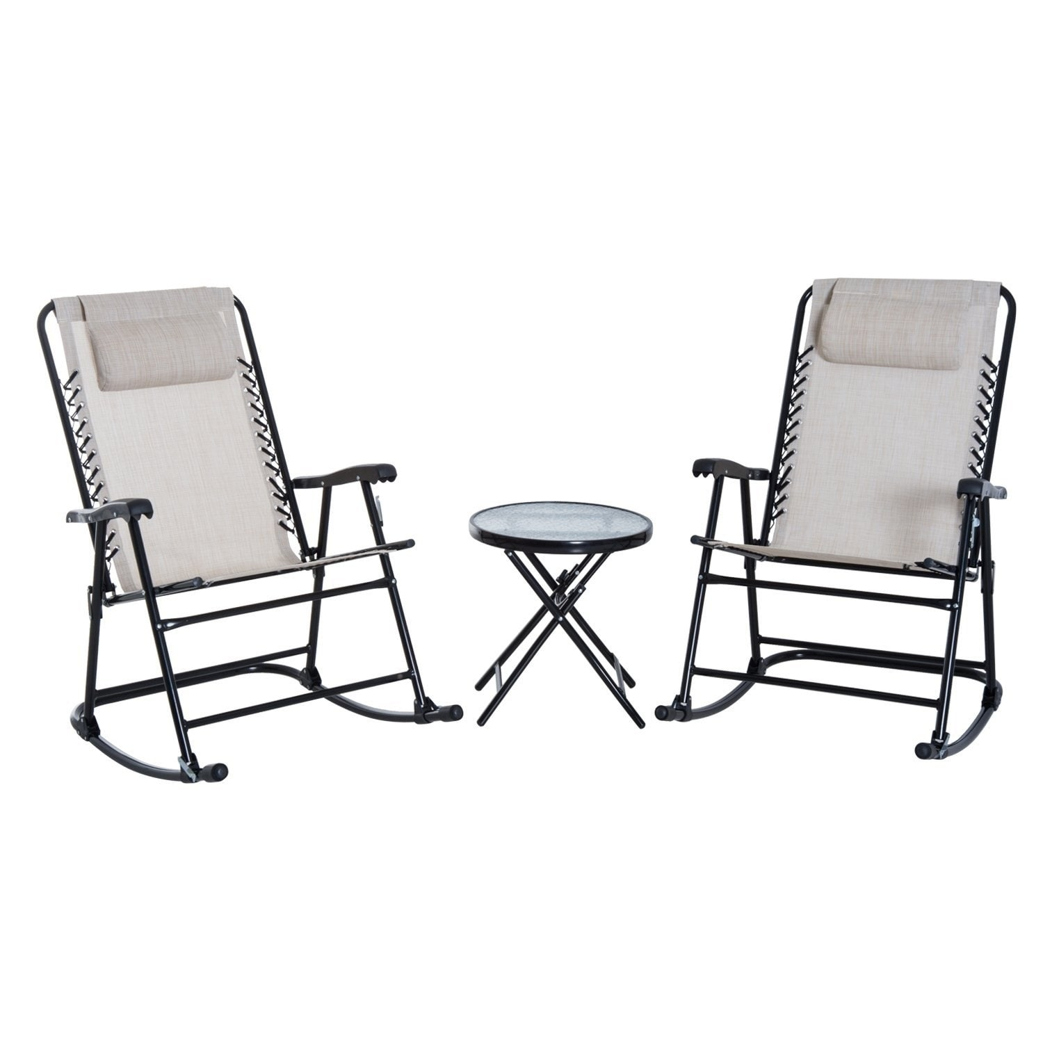 Patio Rocker Chairs Details About Outsunny Outdoor Rocking Chair Patio Table Seating Set Folding Cream White