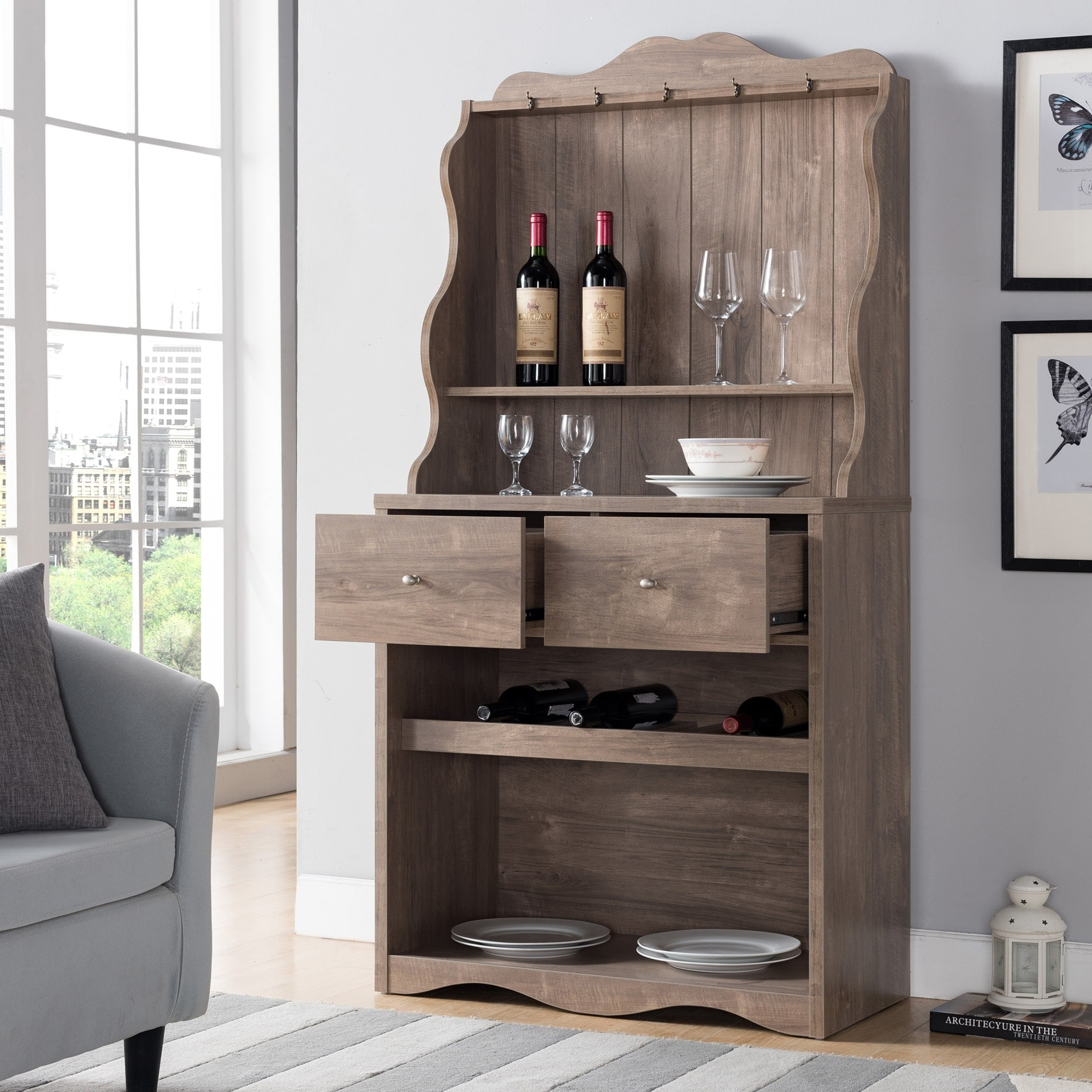 Wine Racks In Kitchen Cabinets Furniture Of America Melliers Rustic Kitchen Cabinet With Wine