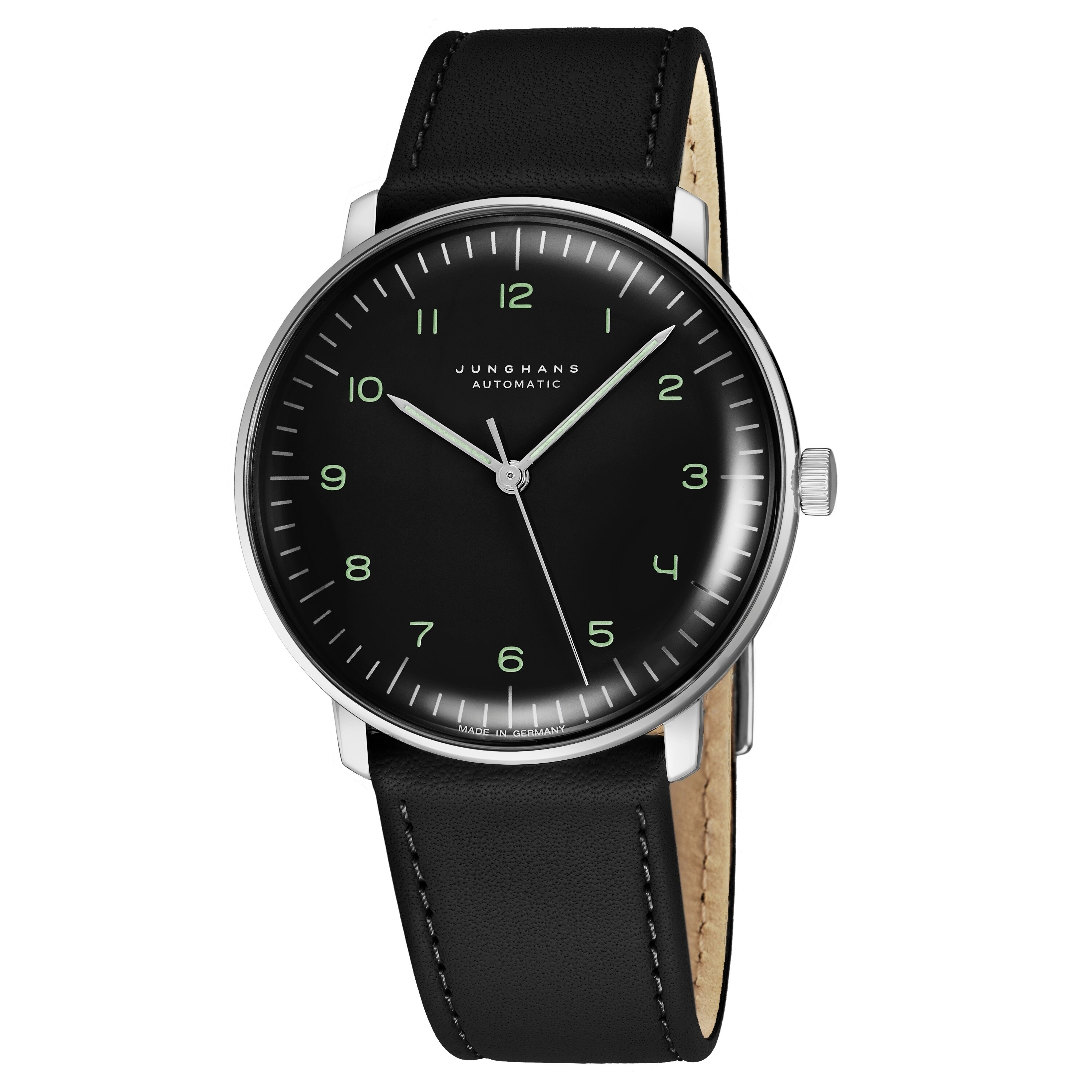 Max Bill Automatic Junghans Men S 027 3400 00 Maxbill Automatic Black Dial Black Leather Strap Self Winding Watch