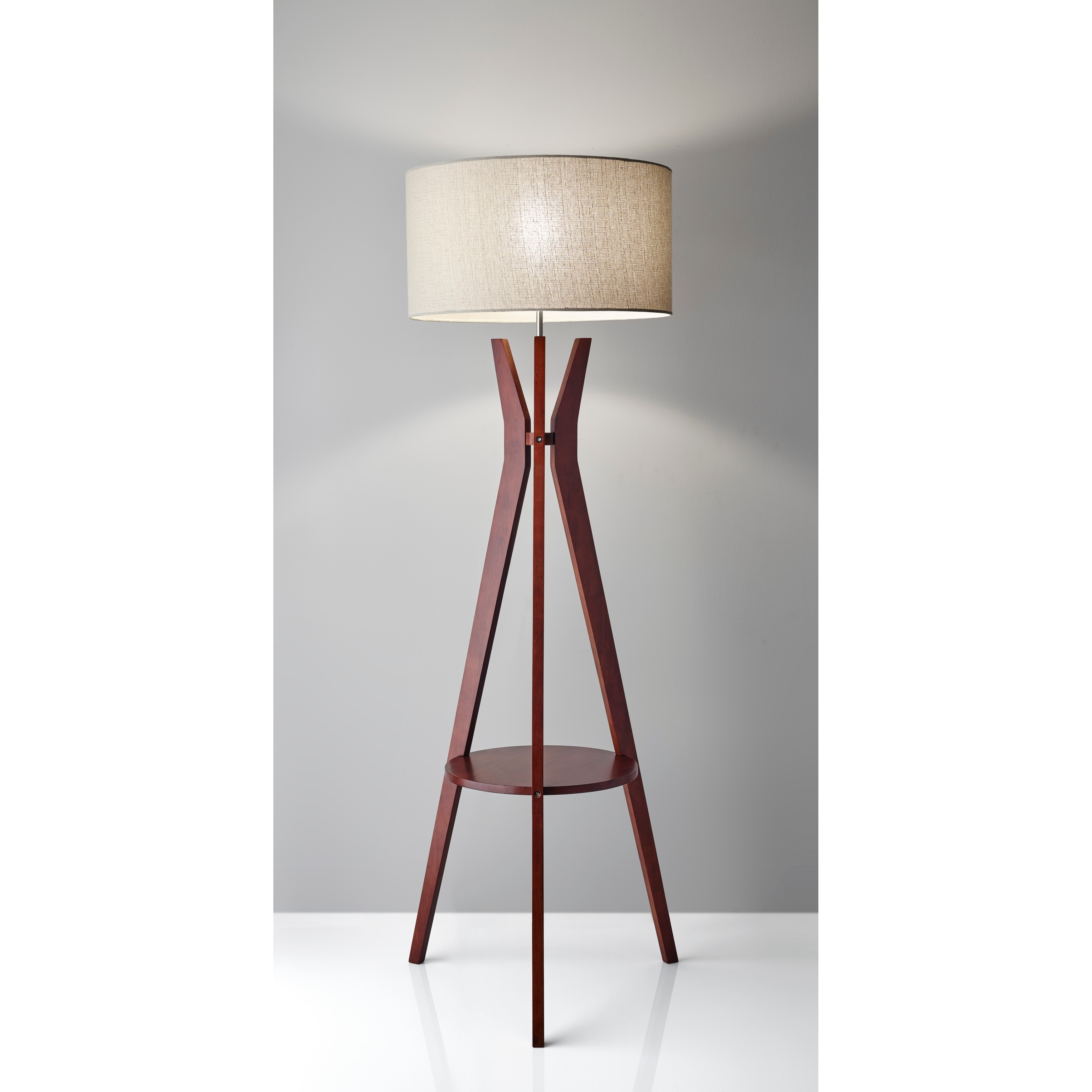 Tripod Floor Lamp With Shelf Adesso Bedford Solid Walnut Wood Tripod Shelf Floor Lamp