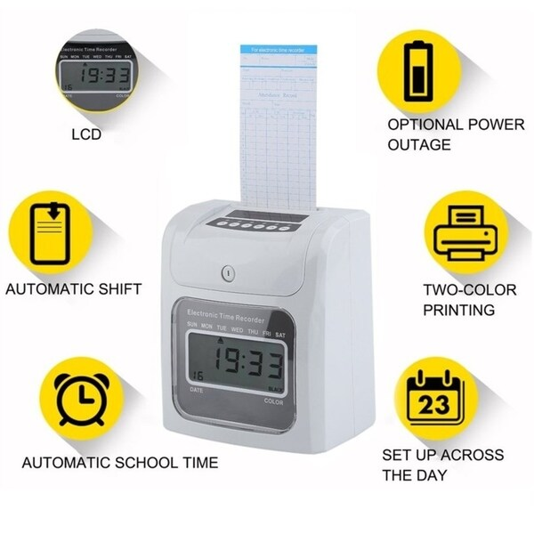Shop LCD Automatic Paper Card Employee Attendance Punch Time Payroll