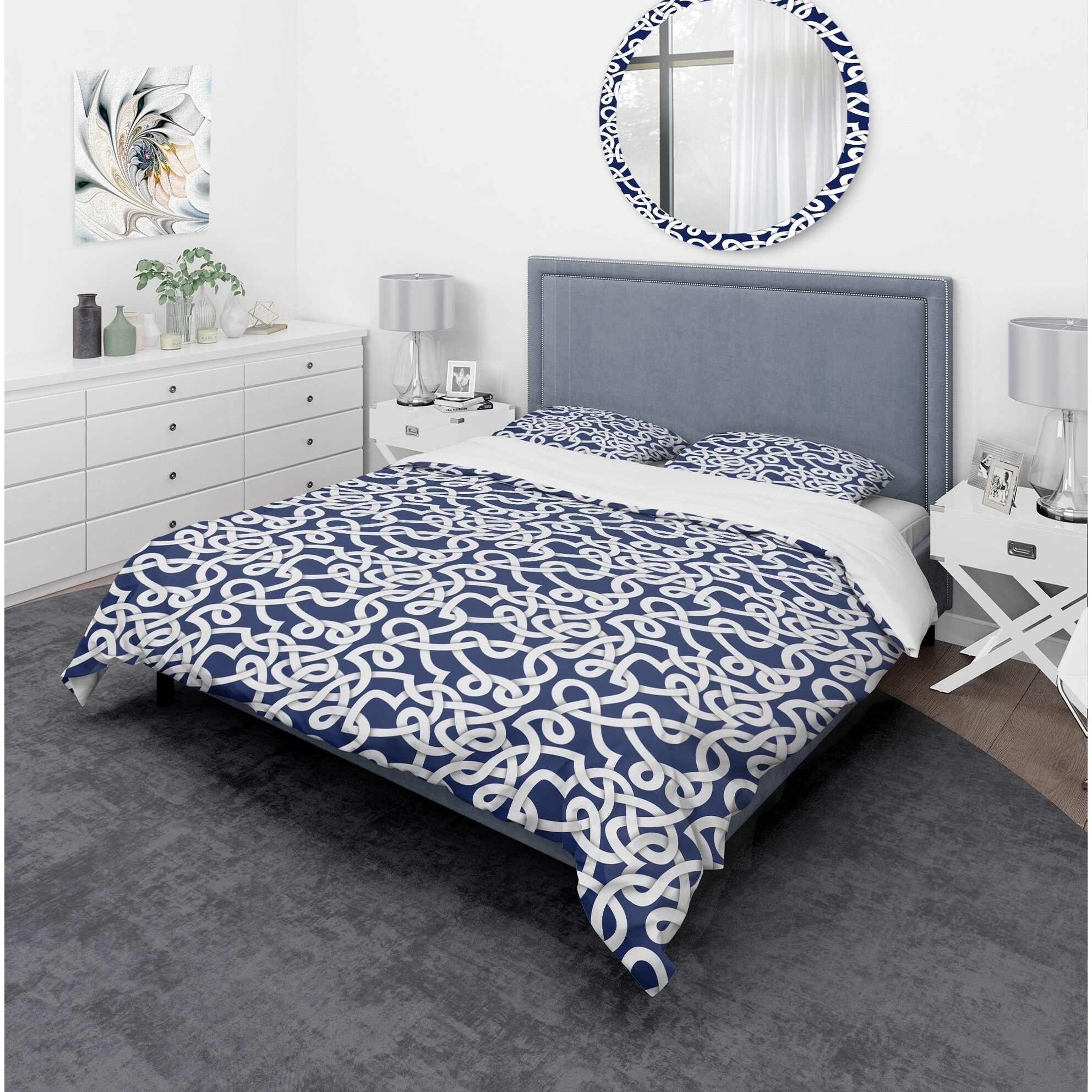 Modern Duvet Details About Designart White Blue Abstract Pattern Mid Century Modern Duvet Cover Set