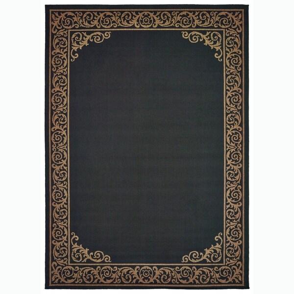 Shop Scroll Border Black/Tan Area Rug - 7\u0027 x 10\u0027 - On Sale - Free