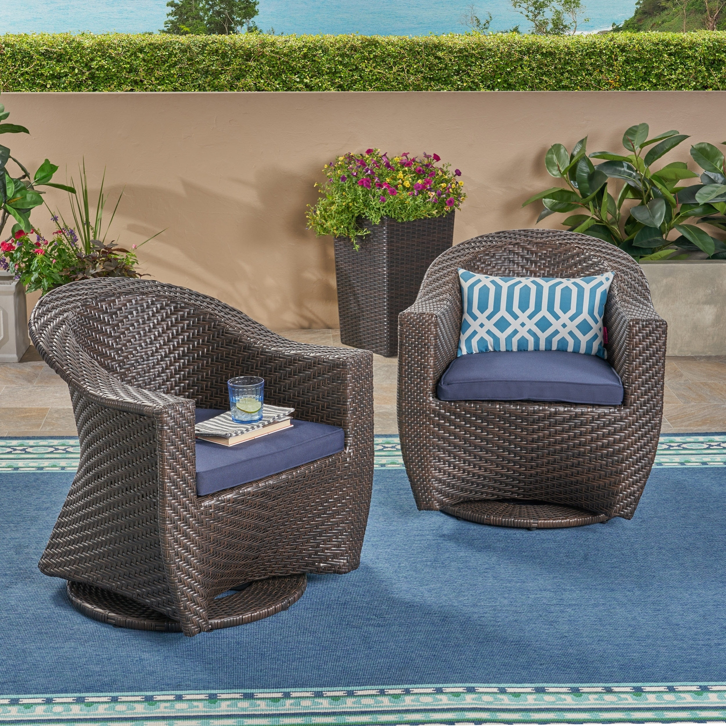 Shop For Larchmont Outdoor Wicker Swivel Chair With Outdoor Cushions Set Of 2 By Christopher Knight Home Get Free Delivery On Everything At Overstock Your Online Garden Patio Shop Get 5 In Rewards With Club O 23579419