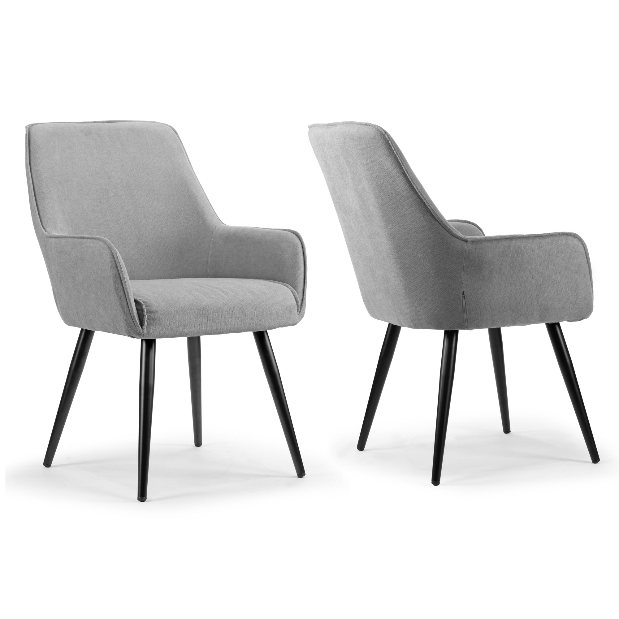 Set Of 2 Amir Grey Dining Chair With Black Metal Legs And Square Arms Overstock 24039542