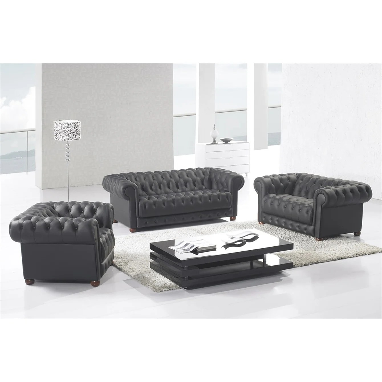 Matte Black Modern Contemporary Real Leather Configurable Living Room Furniture Set With Sofa Loveseat And Chair Overstock 24239956 Brown